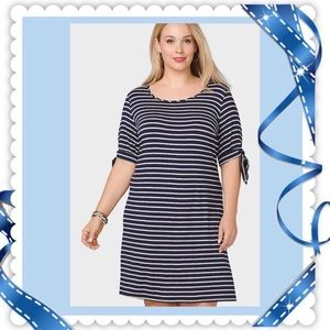 (O) DRESSBARN▪️Navy Blue Nautical Midi Dress